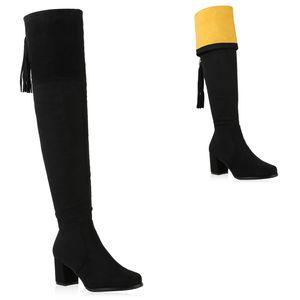 Mytrendshoe Damen Overknees Stiefel Blockabsatz Boots Fransen Zipper Schuhe 831738, Farbe: Schwarz Gelb, Größe: 38