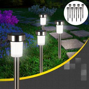 8x LED Solarleuchte aus Edelstahl mit Erdspieß - Gartenleuchte Solar