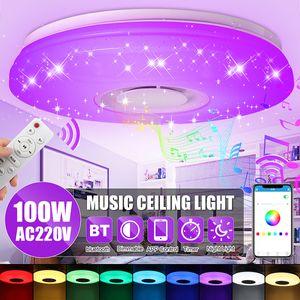 100W Multi Color Kronleuchter Lampe LED Deckenleuchte Bluetooth Musik Lautsprecher für Schlafzimmer Wohnzimmer Drahtlose APP-Steuerung mit Fernbedienung