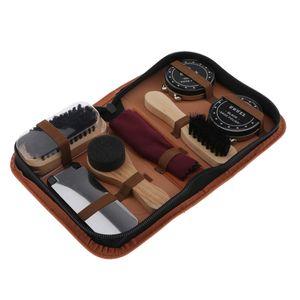 7pcs Tragbare Schuhputzset Schuhpflegeset - Büsten Set - Schuh Lederpflege - Komplette Reiniger Kit