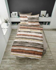 Dormisette  Mako Satin Bettwäsche 2 teilig Bettbezug 155 x 220 cm Kopfkissenbezug 80 x 80 cm 2414_Fb70  Streifen  Leopard flieder