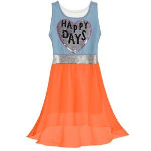 BEZLIT Mädchen Kleid mit schwingenden Rockteil und Wende Pailletten Orange 128