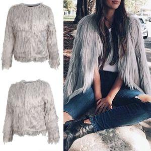 1 Stück Frauen Kunstpelz Jacke Größe L Farbe Grau