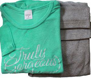 Damen Frottee Winter Pyjama, Schlafanzug, Gr. L (ca. 44-46), hellgrün grau, mit Stickerei, Langarm und lange Hose