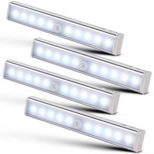 monzana 4er Set LED Schrankleuchte mit Bewegungsmelder Unterbauleuchte Schrankbeleuchtung Nachtlicht Lampe