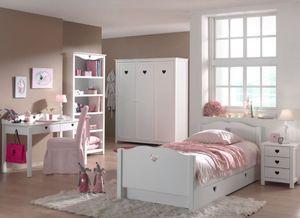 Vipack Set Amori bestehend aus: Einzelbett, Bettschublade, Nachtkonsole, Schreibtisch, Regal und Kleiderschrank 3-trg. Weiß