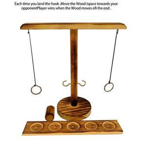 Ring Toss Bimini Spiel Wein Tischspiel für Bar Erwachsene interaktives Handgefertigte Trinkspiele Hook Kampfspiel Runde schwarz