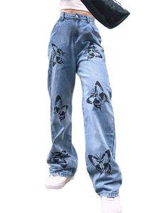 Sexydance Frauen Baggy Jeans Tierprint Gerade Hose Freizeithose Taschen Beiläufig,Farbe:Blau,Größe:S