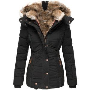 Damen Winter Revers Knopf lange Trenchcoat Jacke Damen Mantel Outwear Größe:M,Farbe:Schwarz