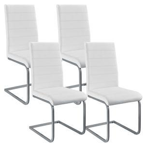 Juskys Freischwinger Schwingstuhl Vegas 4er Set – Esszimmerstuhl mit Metall-Gestell & Bezug aus Kunstleder – Moderner Küchenstuhl in Weiß