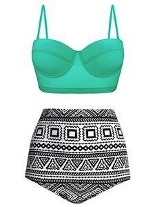 y Dance Frauen y Badeanzug Bikini Set Hoher Taille Zweiteiliger Badebekleidung,Farbe:Grün,Größe:M