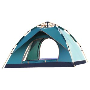 MECO Campingzelt 3-4 Personen Kuppelzelt Wasserdicht UV-Schutz Pop Up Zelt Wurfzelt Doppelschicht Sechseckiges Sekundenzelt 4 Saison Familienzelt