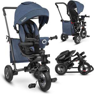 Lionelo Tris Jeans blau Dreirad Laufrad Kinder Fahrrad mit Schiebestange Gummireifen und Freilauffunktion für Pedale und Lenker - für Kinder von 1,5 - 5 Jahre geeignet