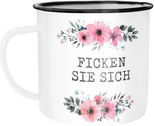Emaille Tasse Becher Ich hasse Menschen Blumige Grüße Kaffeetasse Moonworks® Ficken Sie sich unisize