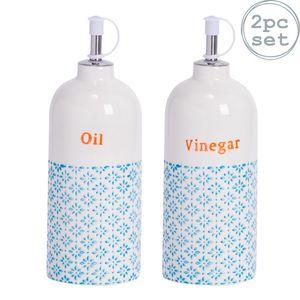 Nicola Spring 2pc Hand Printed Essig und Öl Ausgießer Flasche Set - Porzellan mit Edelstahl Auslauf - Blau - 500ml