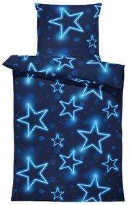 Sterne Bettwäsche 135x200 cm Stern Stars dunkel blau leuchtoptik Microfaser Set