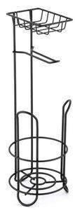 MSV Klopapierhalter mit Ablage, schmaler Toilettenpapierhalter stehend aus Metall, freistehender Toilettenpapierständer für insgesamt 3 Rollen, Schwarz matt