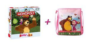 Monopoly Junior Masha und der Bär Brettspiel + Schultertasche Tasche