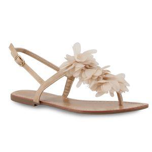 Mytrendshoe Damen Zehentrenner Blumen Flats Sandalen Strand Schuhe 810782, Farbe: Creme, Größe: 37
