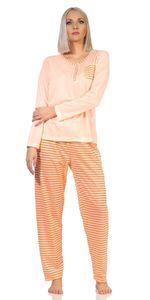 Damen Pyjama lang zweiteiliger Schlafanzug,  Aprikose L