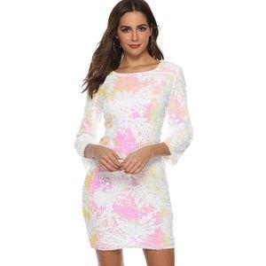 Frauen Pailletten, figurbetontes Kleid mit 3/4 aermeln, O-Ausschnitt, Abend-Party, laessig, Minikleid【weiss M (US4 UK / AU8 EU34) 】