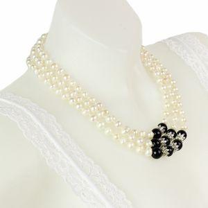 Glamexx24 Damen Parlen Halskette Süßwasser Perle,Schwarz 3pc,41018