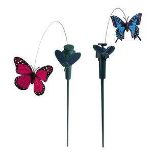 2 Stück Tanzender Solar Schmetterling Solarstecker der Hingucker auf Ihrer Terrasse / Blumenbeet / Garten / Balkon / Blumenkopf