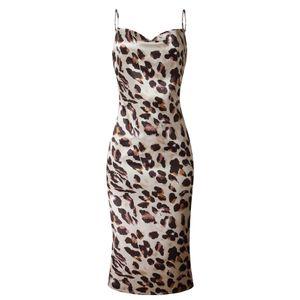 Frauen Leopardenmuster Dot  Vintage Spaghettiträger V-Ausschnitt rückenfreies langes Kleid