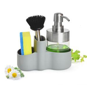 Spülbecken Organizer mit Spülmittelspender Bürste Schwamm Küchenorganizer Küchenutensilien Spülgestell