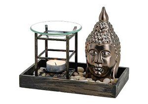 Davartis - Duftlampe Buddha - Holztablett, Aromalampe
