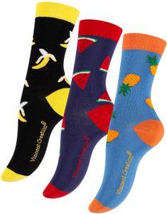 Vincent Creation® Süsse Früchte Socken 3 Paar 36-40