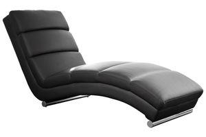 SalesFever Relaxliege | Bezug Kunstleder | Gestell Metall verchromt | B 60 x T 171 x H 81 cm | schwarz