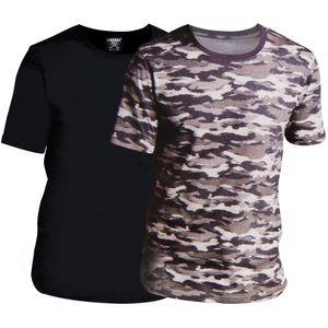 Herren T-Shirt 2er Set - Schwarz / Camouflage - Größe XL