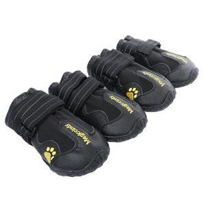 4x Hundeschuhe Stiefel Wasserdichte Regenschuhe für mittelgroße bis große S Schwarz