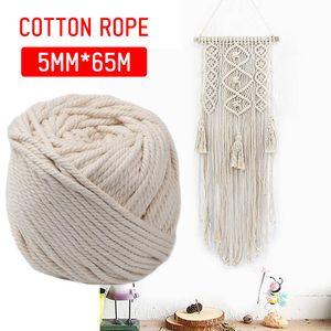 65m 5mm Baumwolle Schnur Seil Faden Garn Häkeln Makramee Baumwollschnur Rolle