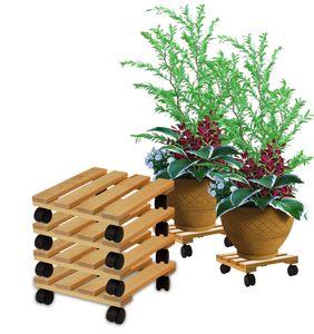 4x Pflanzenroller eckig Buchenholz massives Holz 30 x 30 cm bis 120 Kg Rolluntersetzer