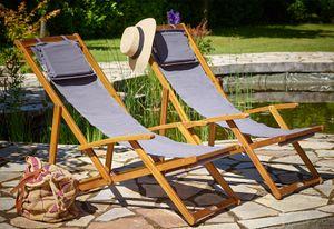 Liegestuhl Deckchair Akazienholz Klappbar Atmungsaktiv Sonnenliege Strandstuhl Gartenliege Relaxliege, Farbe:anthrazit