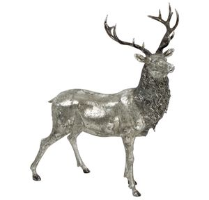 Figur Hirsch silberfarben Polyresin 55 cm Figur Dekoration