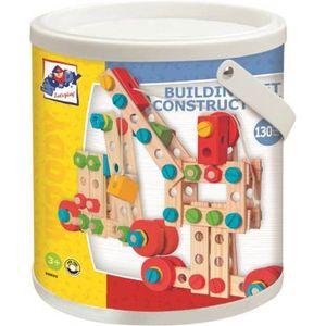 BAU KONSTRUKTIONSSET HOLZ KINDER 144 Bauteile & Schrauben Holzspielzeug