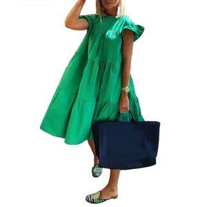 Frauen lässig einfarbig O-Ausschnitt gekräuselt eine Linie Midi-Kleid—Grün,Asiatische Größe:XL