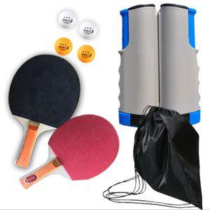 Tragbar 8 tlg Tischtennis-Set Outdoor Flex, 2 wasserfeste Kunststoffschläger, 4 Bälle, inkl. 1 Grau Blau ausziehbarer und längenverstellbarer Tischtennisnetz, in Schwarz Netzbeutel