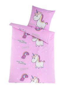 DreamHome Fein-Biber Bettwäsche 135x200 Mädchen, extra flauschige Bettwäsche , Einhorn Bettdecke, Kinder Bettwäsche Baumwolle, kuscheliges Bettwäsche Set in Unicorn, Designe:Einhorn