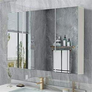 Spiegelschrank weiß Badzimmerschrank Hängeschrank 70 x 15 x 59 cm Badschrank mit 3 Türen Badspiegelschrank zur Wandmontage Badezimmer