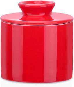 LOVECASA Butterdose Porzellan, Butterbehälter, Französische Butter Crock, Rot