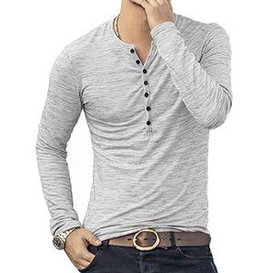 Hochwertiges Herren-Stretch-Langarm-T-Shirt Mit Offener Knopfleiste Und Knopfleiste,Farbe: Grau,Größe:XXL