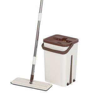 Selbstreinigender Mopp Magic Bucket, Microfiber Spinning 2 Mop Tuch,360°,braun