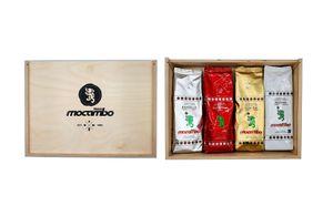 Drago Mocambo Tasting Set in Holzbox - 4x 250g Bohnen - Brasilia 250g + Gran Bar 250g + Suprema 250g + Aroma 250g