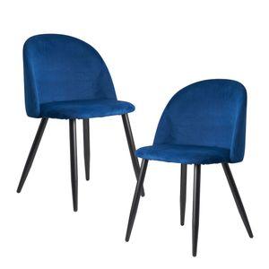 FineBuy Esszimmerstuhl 2er Set Samt Gepolstert | Küchenstuhl mit Schwarzen Beinen | Schalenstuhl Skandinavisches Design | Polsterstuhl mit Samtbezug , Farbe Artikel:Blau