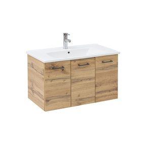 SCHILDMEYER Waschtisch mit Waschbecken Badmöbel eiche landhaus 50x85x45,5cm