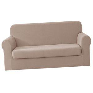 Sofa Abdeckung Stretch Sofabezug 1/2 /3/ Sitzer Sesselbezug Sesselhusse wie beschrieben Beige 2-Sitzer